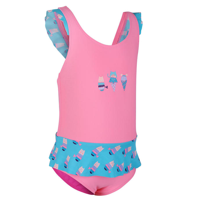 女嬰款連身裙泳裝粉紅迷你裙藍色印花