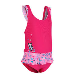 女嬰款連身裙泳裝迷你裙粉紅熊貓印花