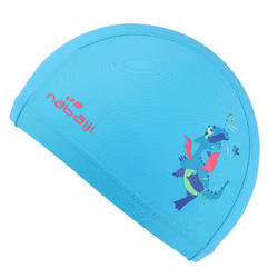 Mesh Print Swim Cap, Size S - Dragon Blue