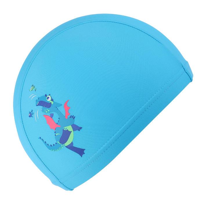 網眼印花泳帽,S號 - 龍圖案/藍色