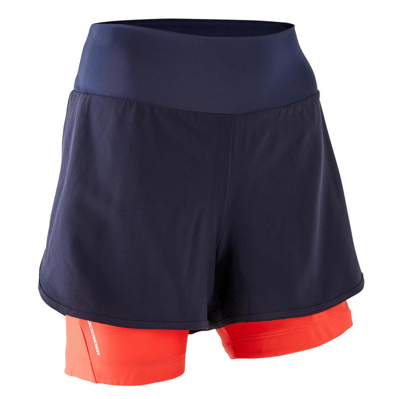 Women's Mountain Bike Shorts ST 100 - Navy/Pink