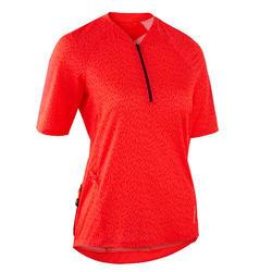 MTB shirt met korte mouwen dames ST 500 nectarine oranje