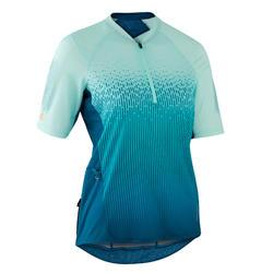 女款短袖登山車衣ST 500 - 藍綠色
