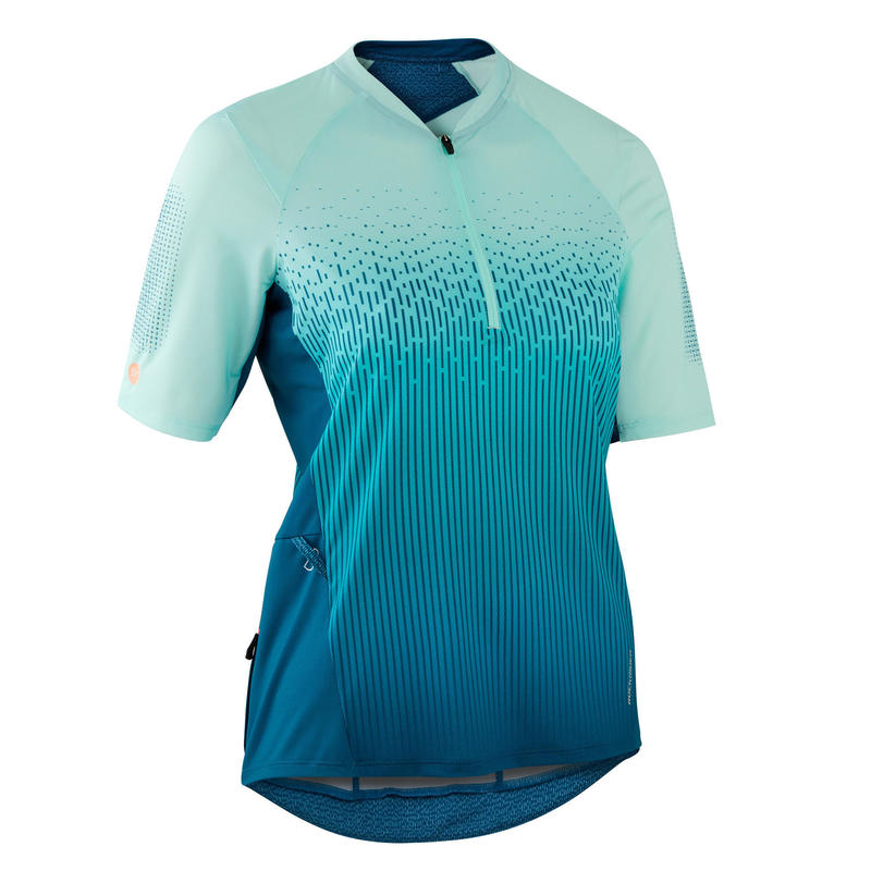 MAILLOT MANCHES COURTES VTT ST 500\nFEMME TURQUOISE