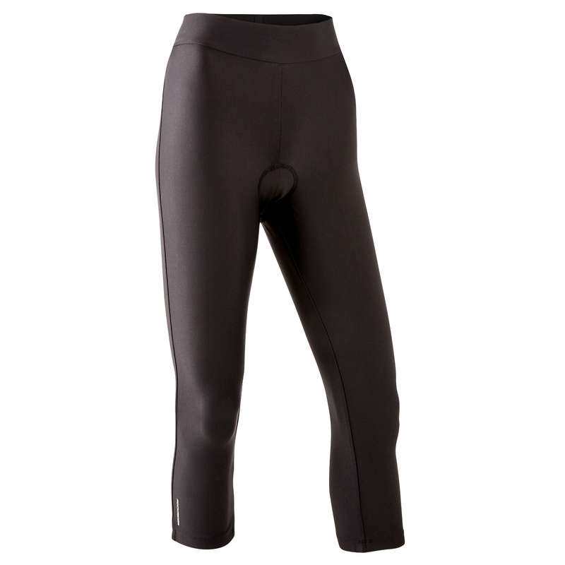 W WARM WEATHER ST MTB APPAREL Clothing - 100 Womens 3/4 Padded Cycling Tights ROCKRIDER - By Sport