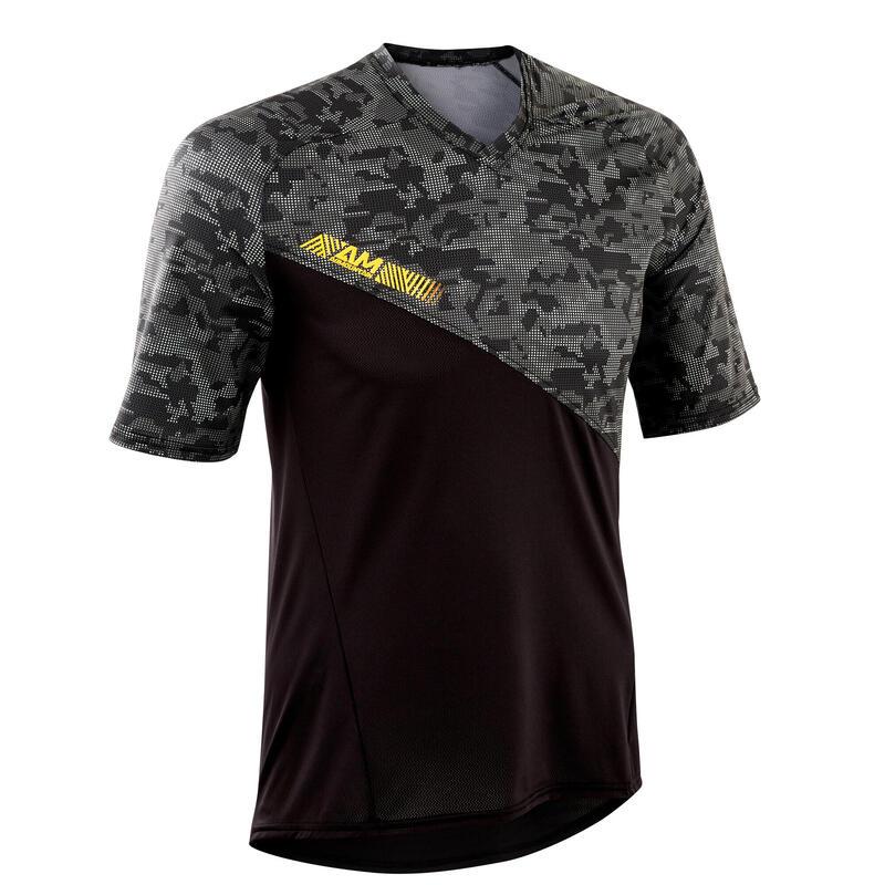 All-Mountain Short-Sleeved Mountain Bike Jersey - Black