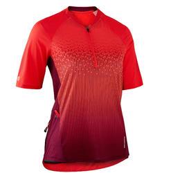 MTB shirt met korte mouwen dames ST 500 pruimenpaars
