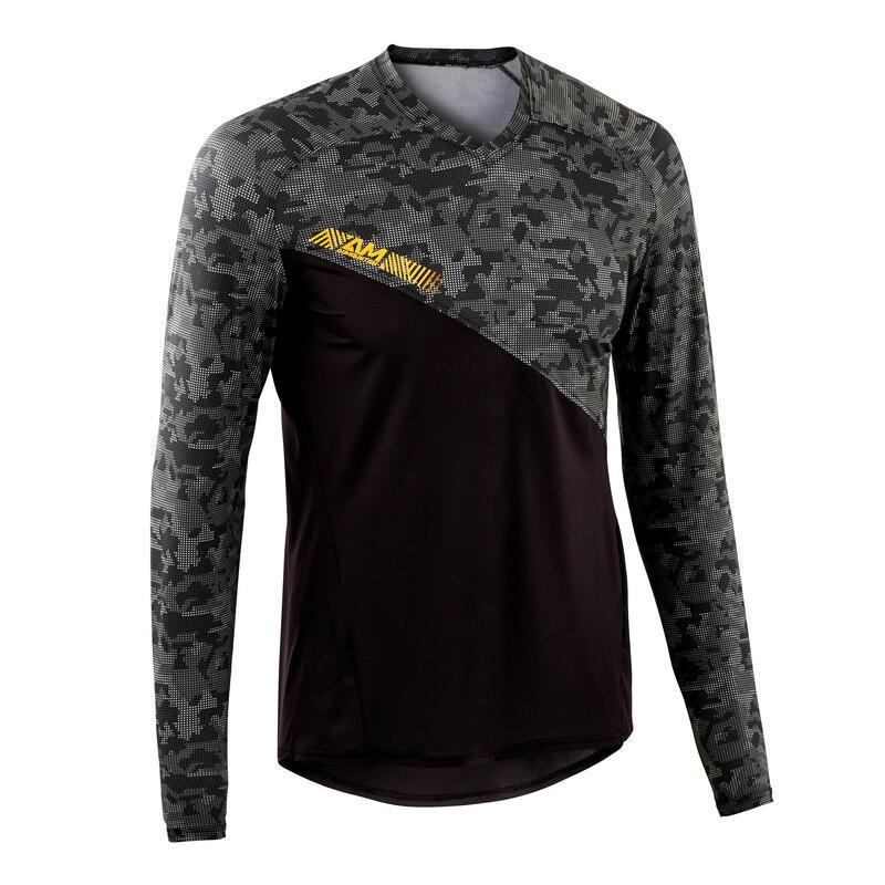 All-Mountain Long-Sleeved Mountain Bike Jersey - Black