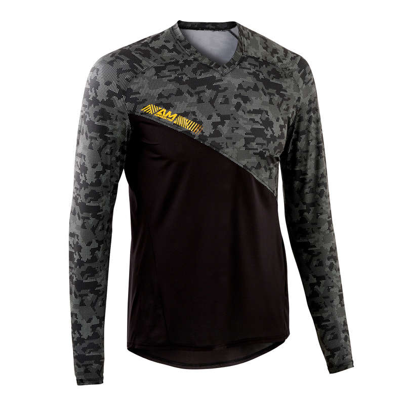 MEN WARM WEATHER ALL MOUNT. MTB APPAREL Cycling - AM Long Sleeve Mountain Bike Jersey - Black ROCKRIDER - Cycling