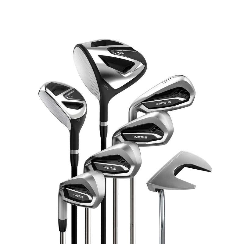 KIJE DO GOLFA DLA POCZĄTKUJĄCYCH Golf - Zestaw 7 kijów do golfa 100 R2 INESIS - Kije golfowe