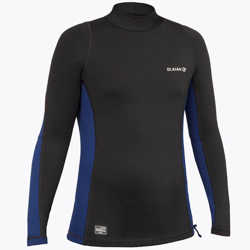 TOPY NA OCHRANU PŘED SLUNCEM A CHLADEM Surfing a bodyboard - DĚTSKÉ TRIČKO S UV 500 ČERNÉ  OLAIAN - Plavky a trička s UV ochranou