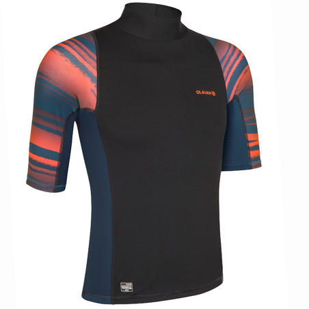 Men's Surfing Short Sleeve UV Protection Top T-Shirt 500 - Neon Print