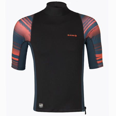 Men's Surfing Short Sleeve UV Protection Top T-Shirt 500 - Neon Print
