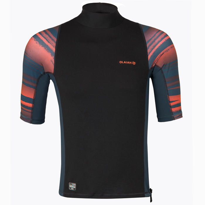 tee shirt anti uv surf top 500 manches courtes homme fluo print