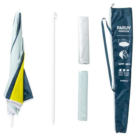 Parasol PARUV Windstop turquoise jaune vert foncé UPF50+ 2 places