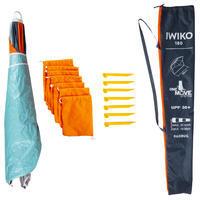שמשיית חוף עם הגנת +UPF50 דגם Iwiko 180 | ל-3 אנשים - מנטה אפור כתום