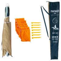 """Saulessargs/nojume 3personām """"Iwiko180"""", UPF 50+, smilškrāsas, piparmētru zaļš"""