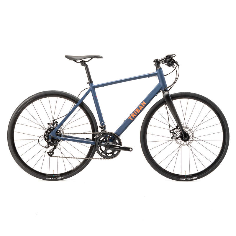 MEN ROAD CYCLING BIKES Cycling - RC 120 Flat Bar Disc Road Bike - Blue TRIBAN - Bikes