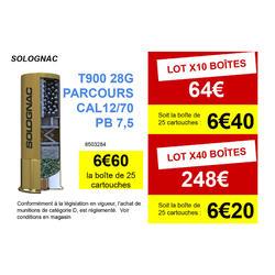CARTOUCHE BALL-TRAP T900 28G PARCOURS CALIBRE 12/70 PLOMB N°7,5 X25 SOLOGNAC