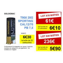 CARTOUCHE BALL-TRAP T900 28G SPORTING CALIBRE 12/70 PLOMB N°8 X25 SOLOGNAC