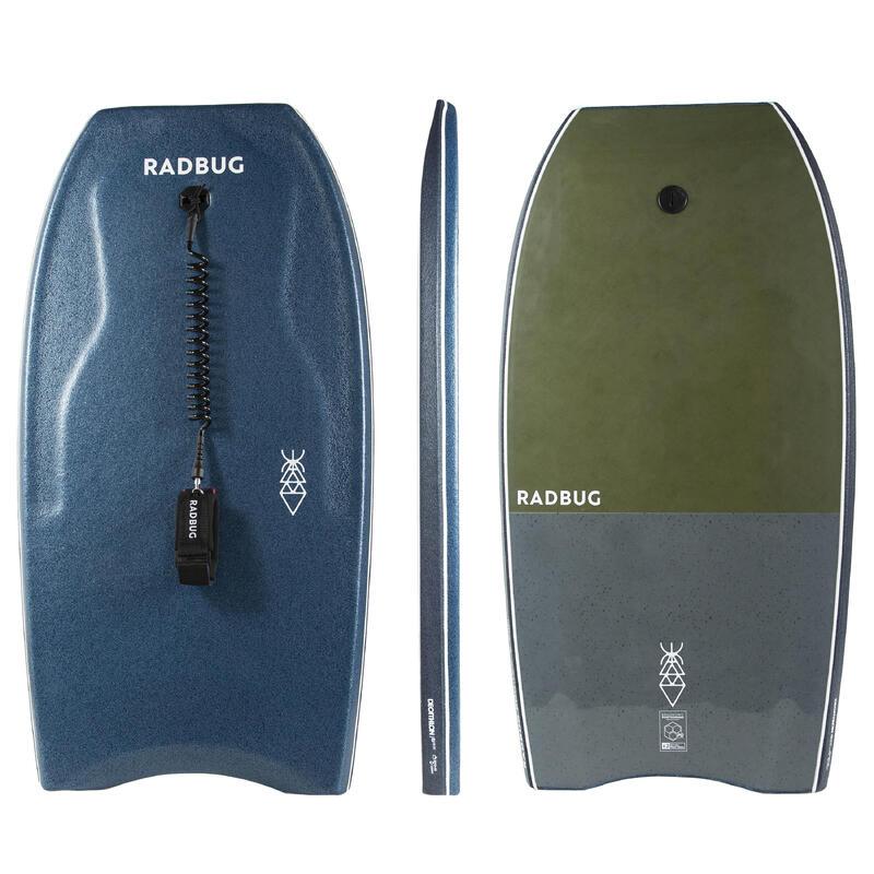 Bodyboard 500 Blue Khaki with biceps leash
