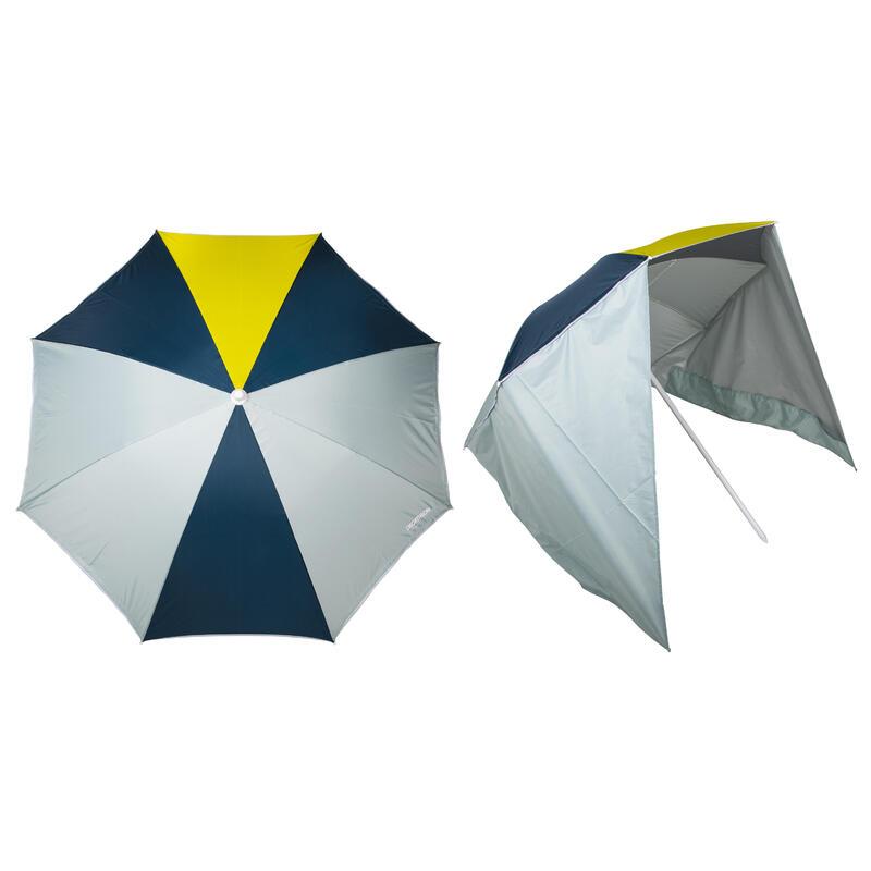 Parasol PARUV Windstop turquoise geel donkergroen UPF50+ 2 plaatsen