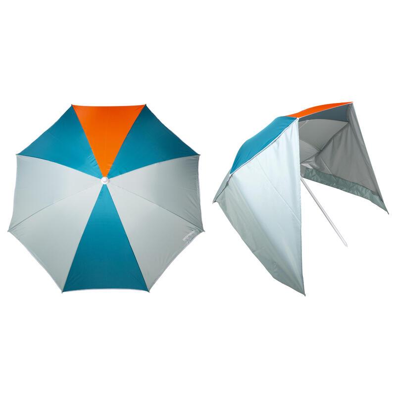 Parasol PARUV Windstop bleu turquoise orange UPF50+ 2 places