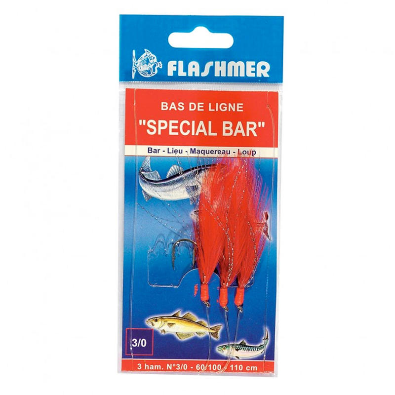 Sea Fishing Bass String of Feathers N°3/0 x3 Red