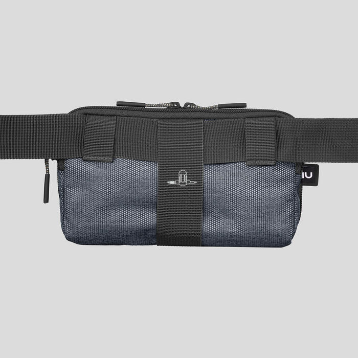 Large trekking bum bag travel organizer - grey
