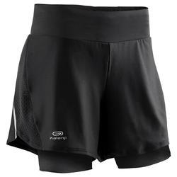 RUN DRY + WOMEN'S SHORTS BUILT-IN TIGHT SHORTS - BLACK