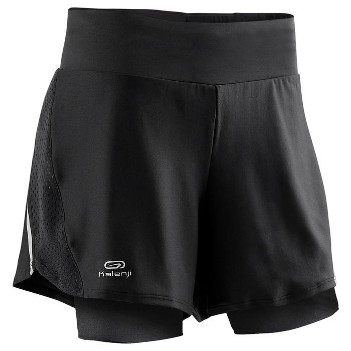 女款跑步短褲 搭配內襯緊身短褲RUN DRY + - 黑色