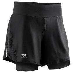 SHORT 2EN1 CUISSARD INTEGRE RUNNING RUN DRY + NOIR FEMME