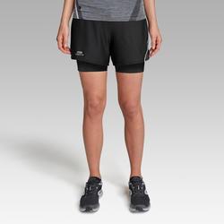 Hardloopshort voor dames met ingewerkt broekje zwart