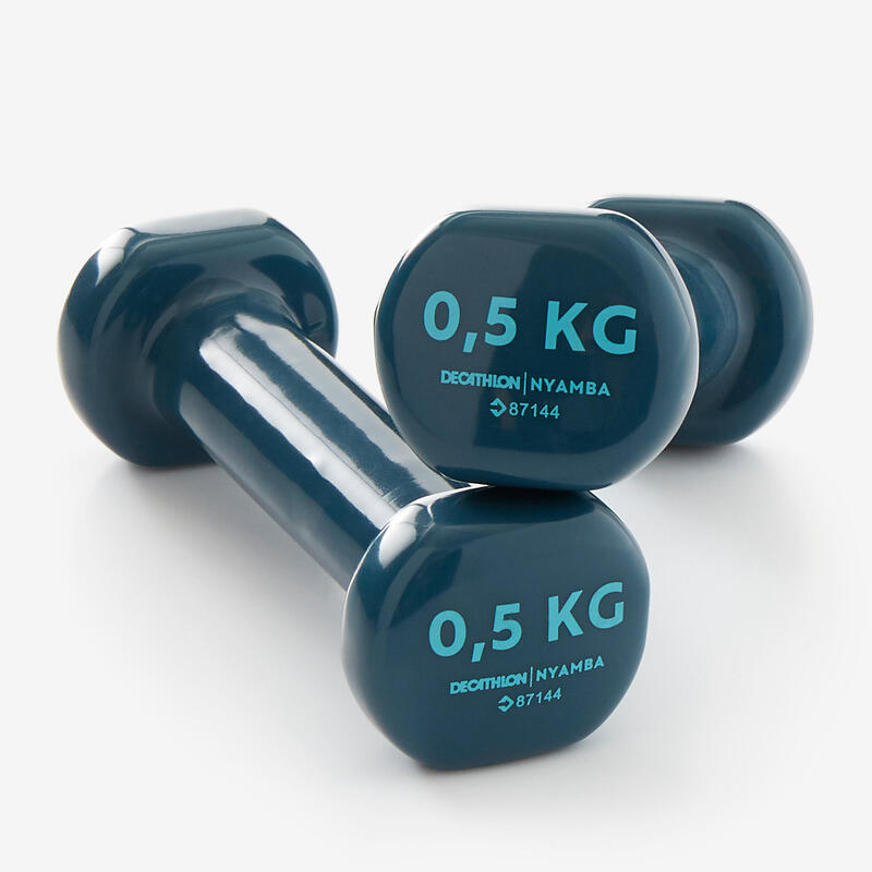 Fitness 0.5 kg Dumbbells Twin-Pack - Turquoise