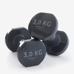 Halters voor fitness 3 kg grijs per paar