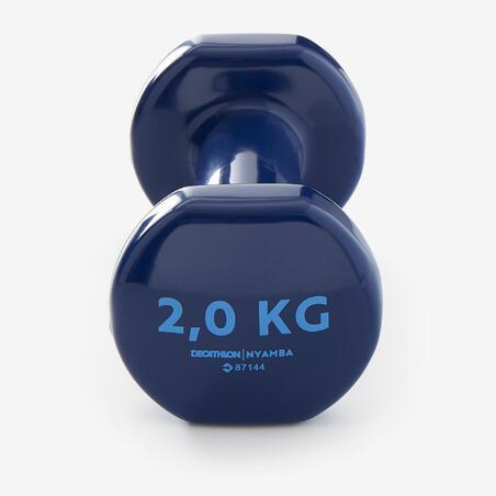Mancuernas Vinilo 2 x 2kg. Fitness Gym Pilates Nyamba amarillo