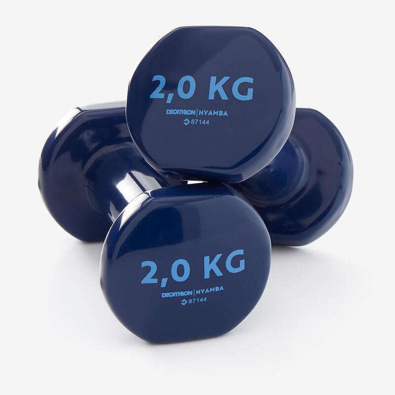 Pilates Toning Dumbbells Twin-Pack 2 kg - Blue