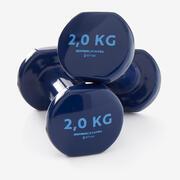 Mancuernas Vinilo 2 x 2kg. Fitness Gym Pilates Nyamba azul oscuro