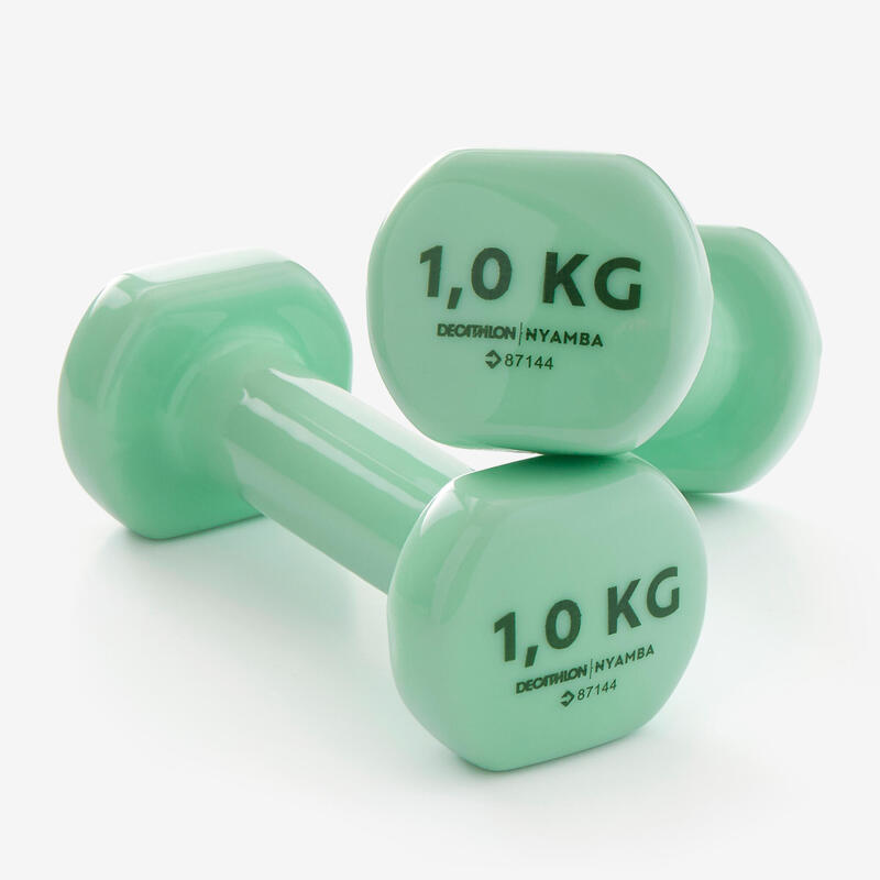 Fitness 1 kg Dumbbells Twin-Pack - Green