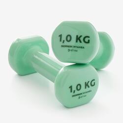 PAR DE HALTERES DE GINÁSTICA E PILATES 1 kg VERDE