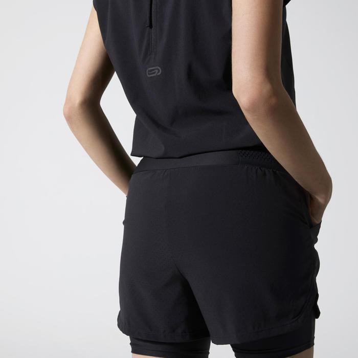 Combishort voor jogging dames Run Dry+ zwart