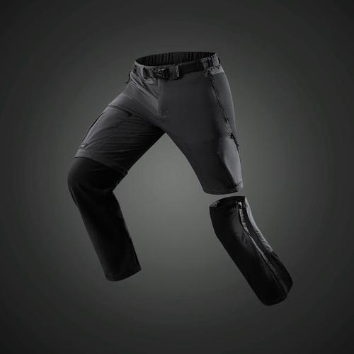 Pantalon modulable trekking montagne TREK500 homme gris foncé