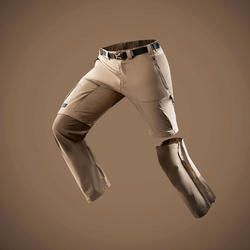 Men's Mountain Trekking Modular Trousers -TREK 500 - Brown
