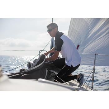 男款航海短袖Polo衫Race 500-黑色/白色