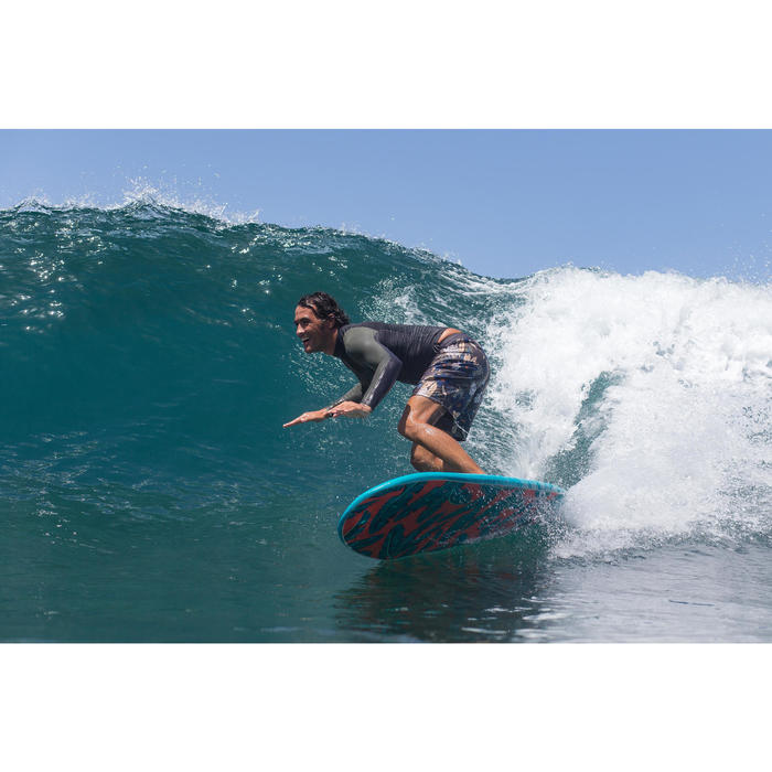 Surfing Standard Boardshorts 500 - Flowers Khaki