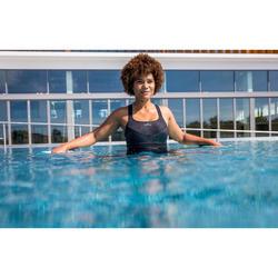 Maillot de bain une pièce combishort long d'Aquafitness femme Anna noir square