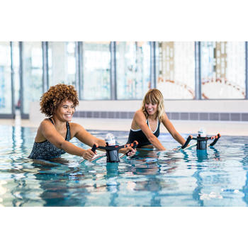 Badpak voor aquafitness Lou zwart/wit