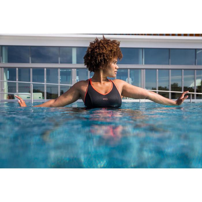 Badpak voor aquafitness shortymodel Lou zwart/oranje