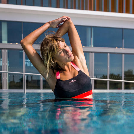 Women's Aquafitness Swimsuit Top Anna Black Orange