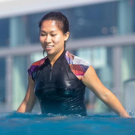 """Sieviešu īspiedurkņu ūdens vingrošanas, ūdens aerobikas augšdaļa """"Zia"""", melns"""